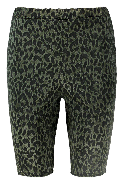 Pantalones con cortos ciclista Jacquard de de estampado leopardo verde rFrwUBzq