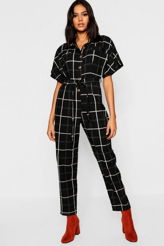 Horn Button Grid Check Pocket Jumpsuit