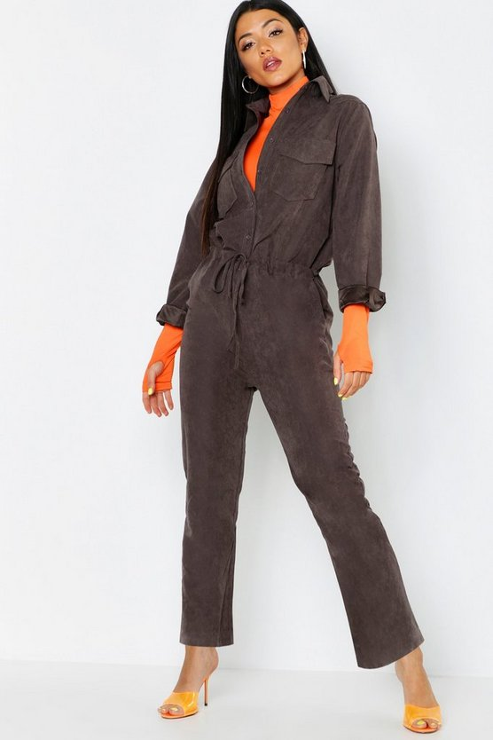 Womens Chocolate Suedette Utility Cargo Jumpsuit