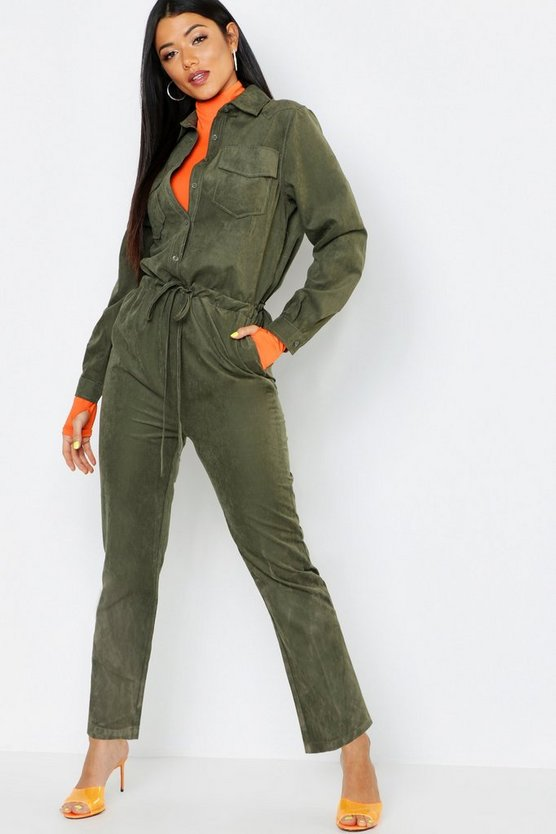 Utility Jumpsuits in Wildlederoptik