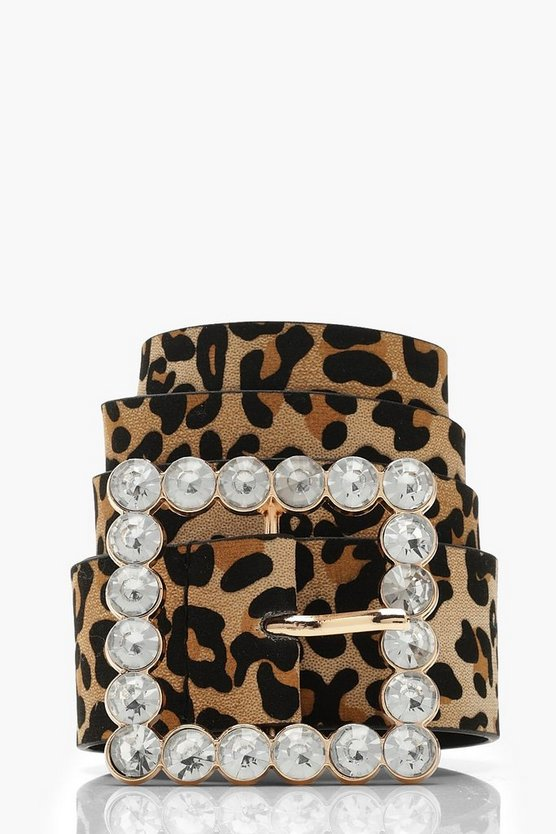 Diamante Square Buckle Leopard Belt