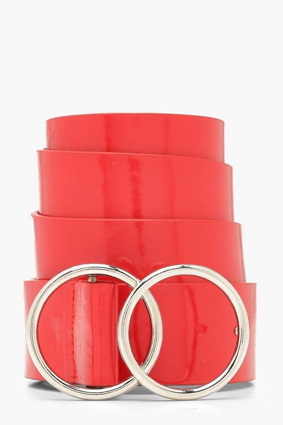 Womens Red Red Patent O Ring Boyfriend Belt