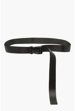 Womens Black Longline Buckle Tape Belt