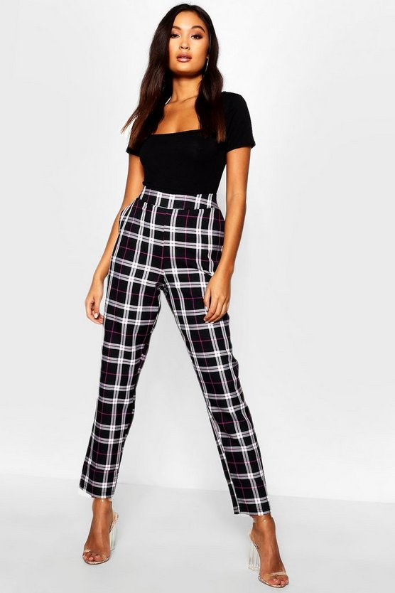 Black Woven Tartan Check Slim Fit Trousers