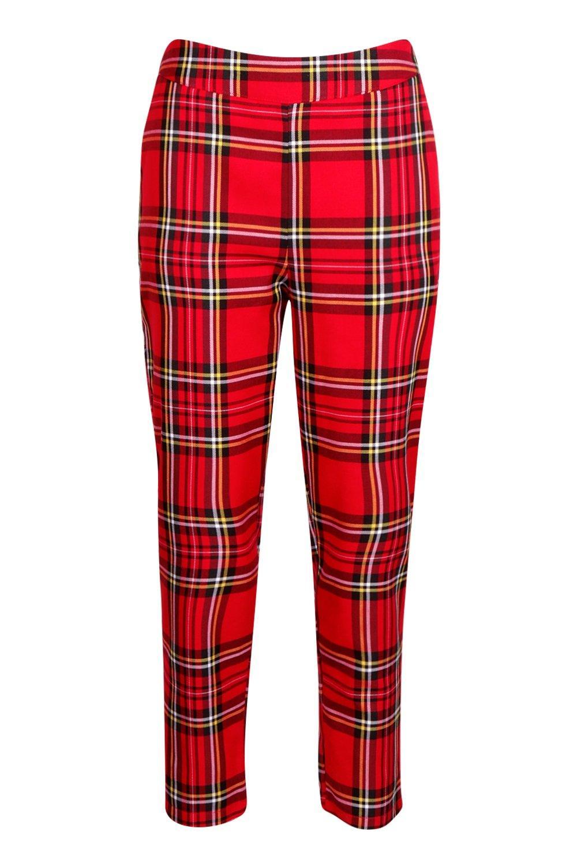 rojo escoceses pitillo cuadros de Pantalones tejidos URwFBTUx