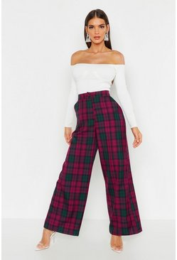 Womens Plum Woven Tartan Check Wide Leg Trousers