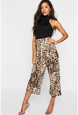Womens Brown Animal Tie Waist Trousers