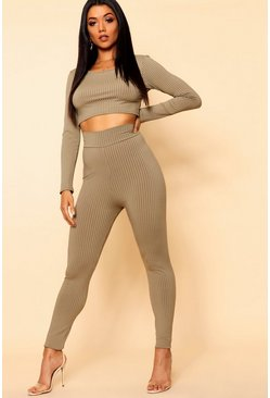 Womens Khaki Basic Jumbo Ribbed High Waisted Leggings