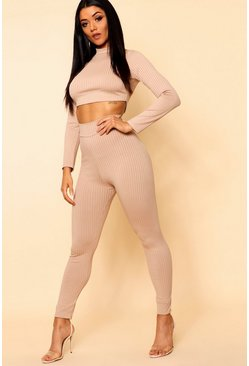 Womens Stone Basic Jumbo Rib High Waisted Leggings