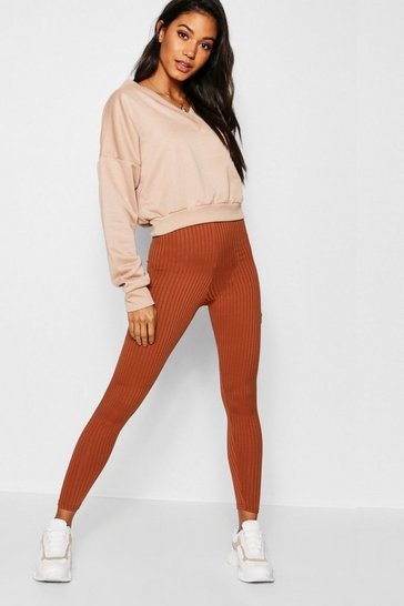 Womens Tan Basic Jumbo Rib Leggings