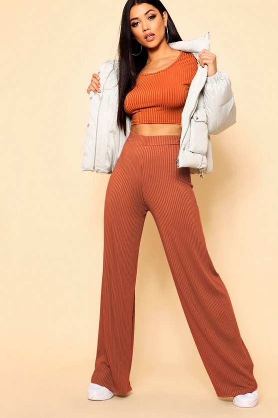 Basic Jumbo Rib Wide Leg Trouser