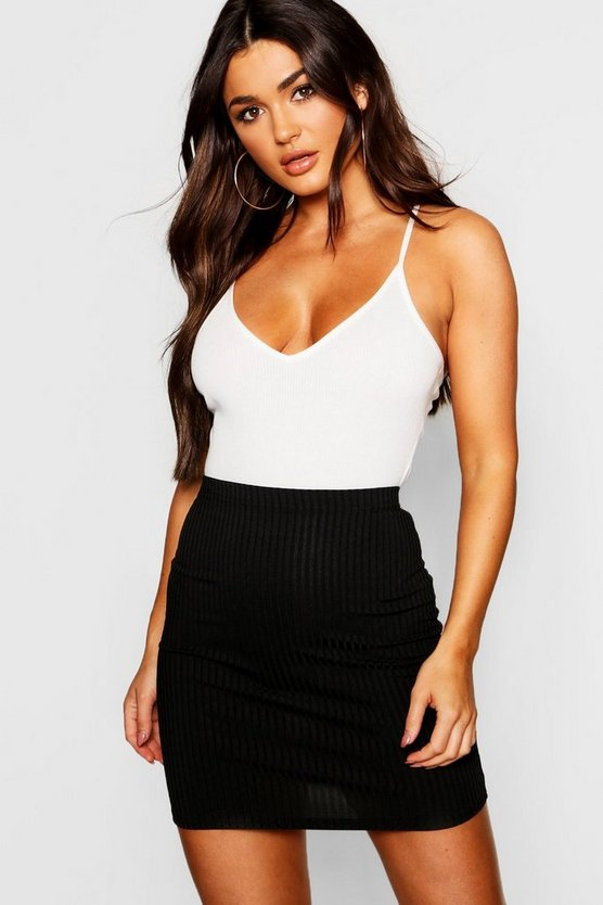 Womens Black Basic Jumbo Rib Mini Skirt