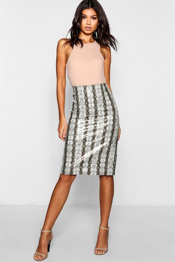 PU Leather Look Snake Print Midi Skirt