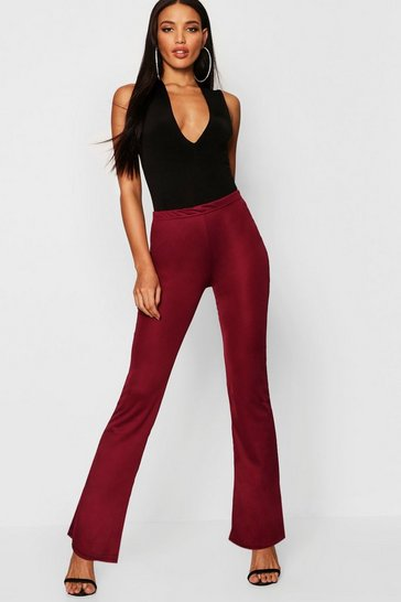 Womens Wine Basic Ribbed Skinny Flare Trousers