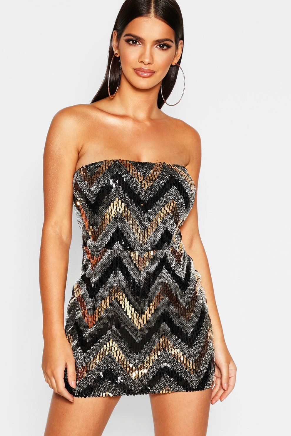 9ff41df7 Womens Gold Printed Sequin Bandeau Bodycon Dress. Hover to zoom