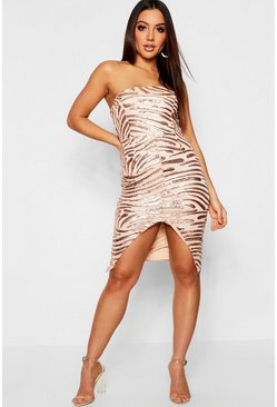 Rose Bandeau Sequin & Mesh Midi Dress