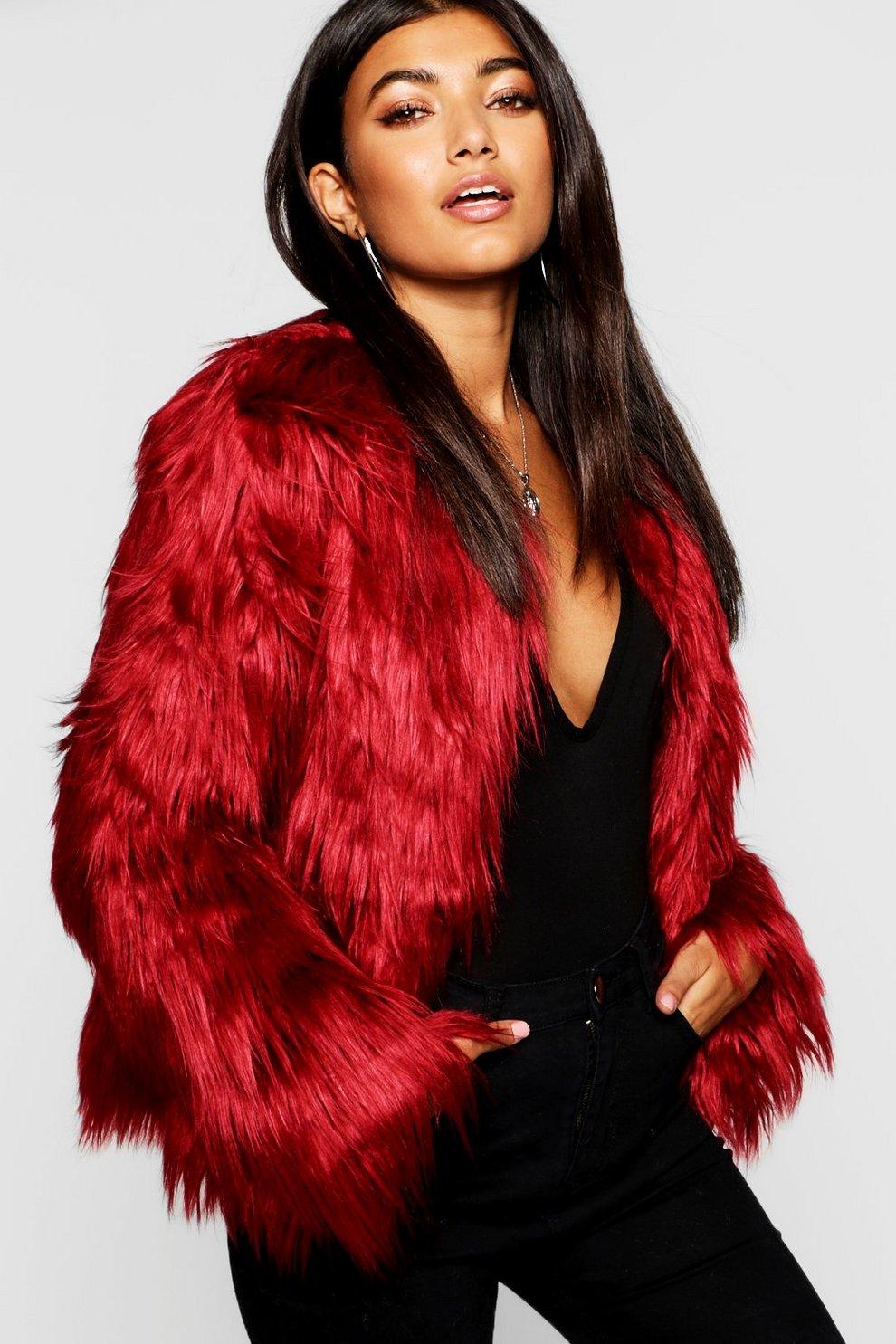 75751c47a8c Womens Burgundy Shaggy Faux Fur Coat