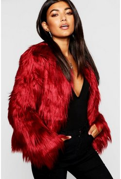 Womens Burgundy Shaggy Faux Fur Coat