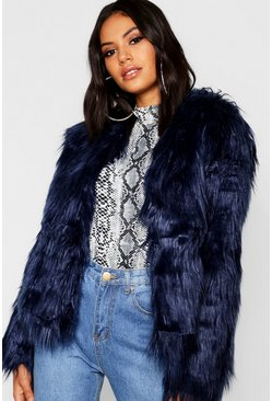 Womens Navy Shaggy Faux Fur Coat