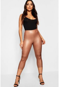 Womens Camel Matte Leather Look Cropped 3/4 Leggings