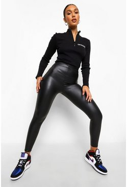 Matte Stretch-Leggings in Lederoptik, Schwarz, Damen