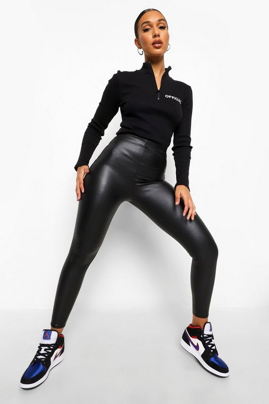 Womens Black Matte Leather Look Leggings