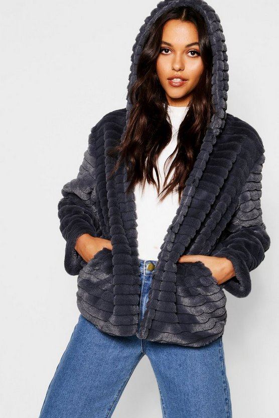 Womens Grey Hooded Faux Fur Coat