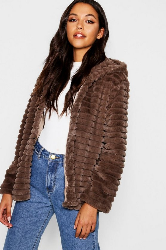 Hooded Faux Fur Coat