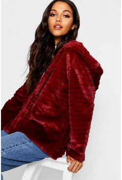 Womens Burgundy Hooded Faux Fur Coat