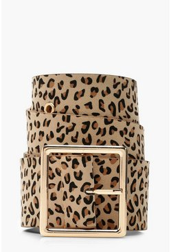 Womens Brown Leopard Buckle Belt