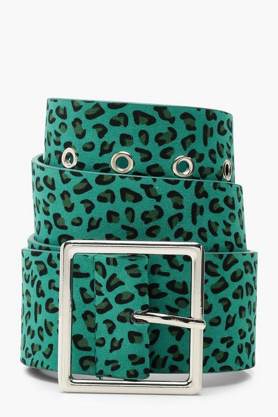 Womens Green Leopard Buckle Belt