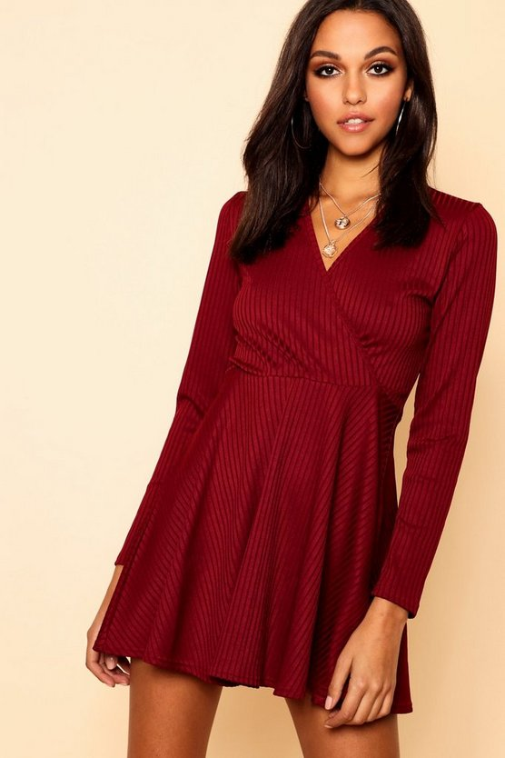 Womens Berry Jumbo Rib Wrap Skater Dress