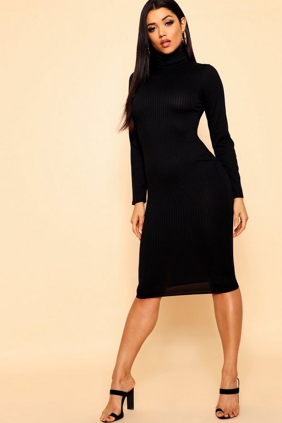 Womens Black Jumbo Rib Roll Neck Midi Dress