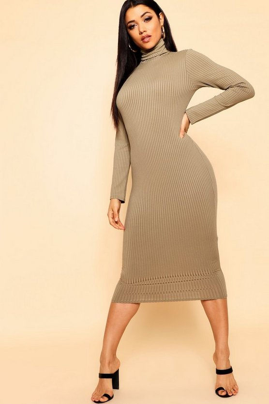 Jumbo Rib Polo Neck Midi Dress