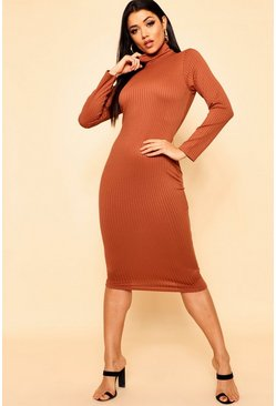 Womens Tan Jumbo Rib Roll Neck Midi Dress
