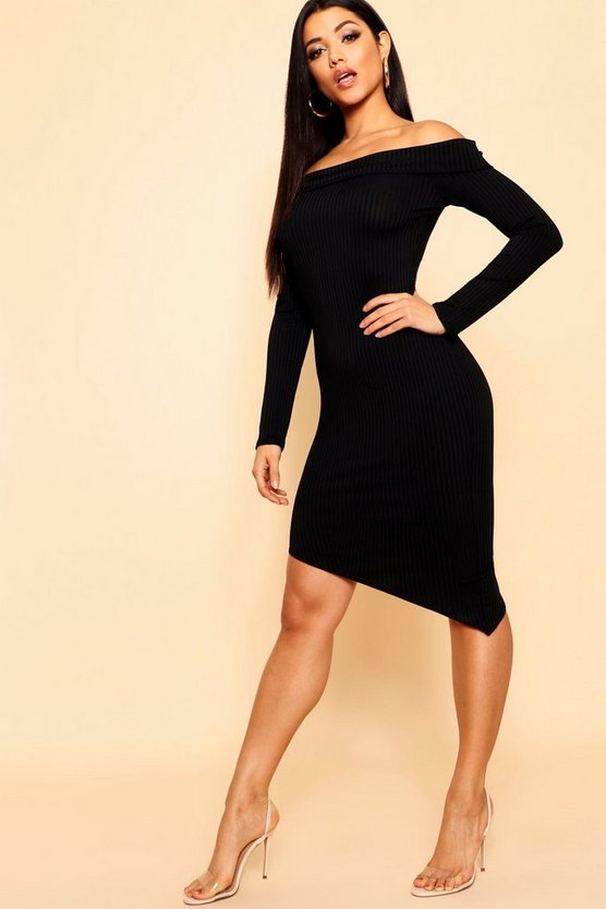 Black Jumbo Rib Off The Shoulder Curve Hem Midi Dress