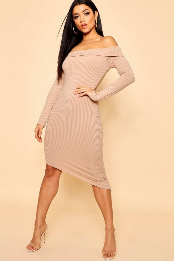 Jumbo Rib Off The Shoulder Curve Hem Midi Dress