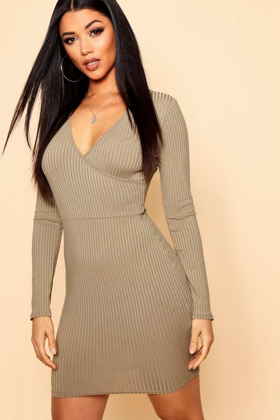 Womens Khaki Jumbo Rib Wrap Bodycon Dress
