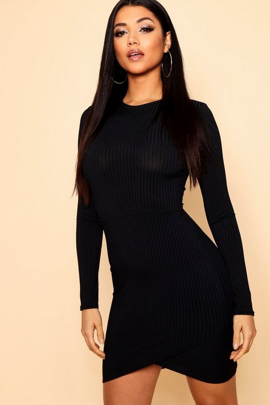 Jumbo Rib Curve Hem Bodycon Dress