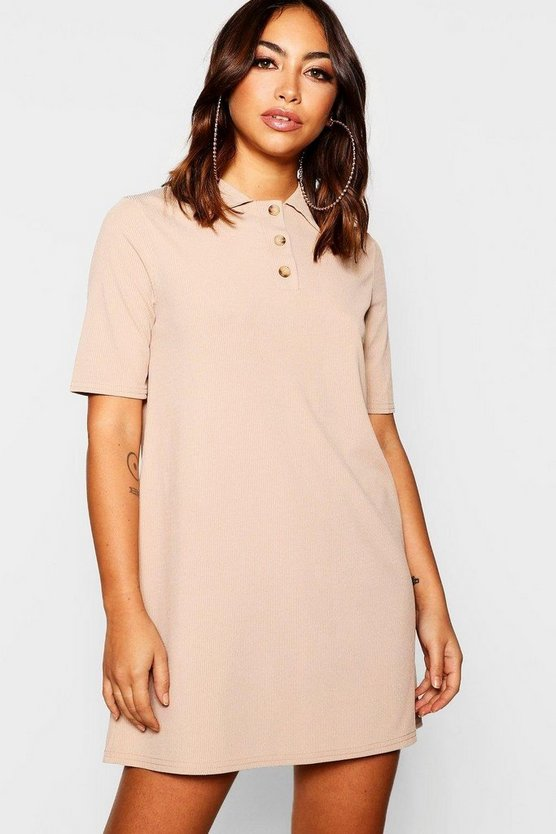 Ribbed Mock Horn Collared Shift Dress