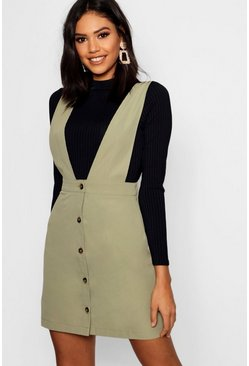 Womens Khaki Plunge Front Button Pinafore Dress