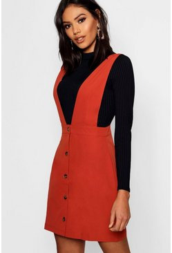 Womens Rust Plunge Front Button Pinafore Dress