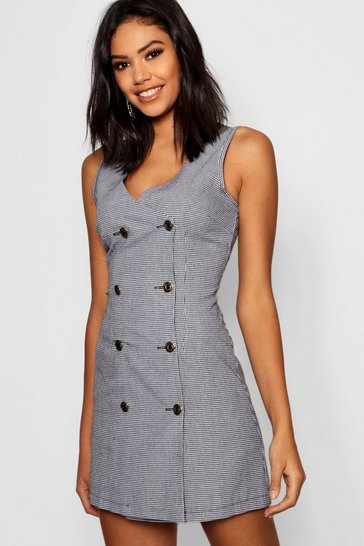 Womens Black Dogtooth Gold Button Tweed Effect Pinafore Dress