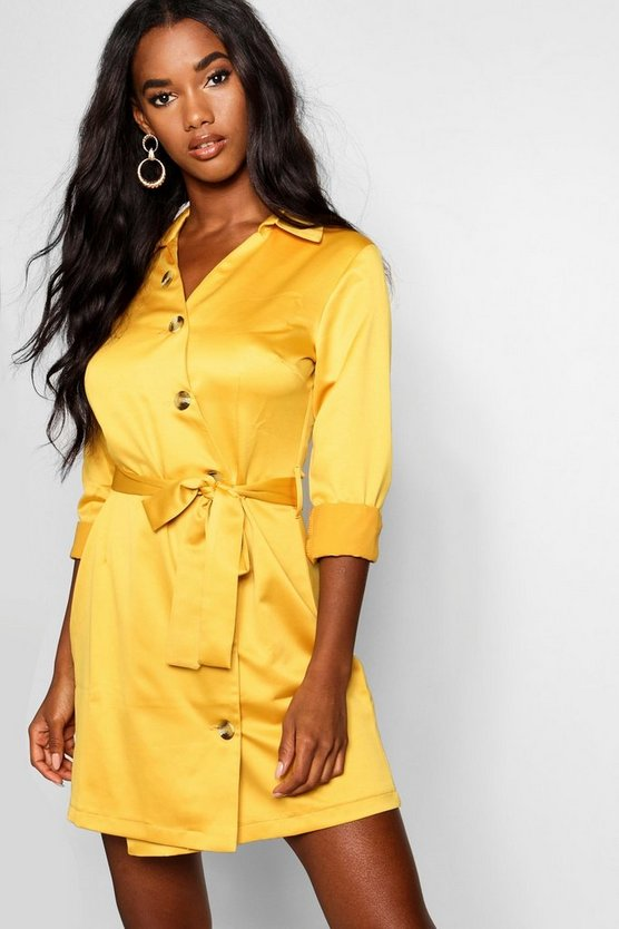 Horn Button Detail Luxe Shirt Dress