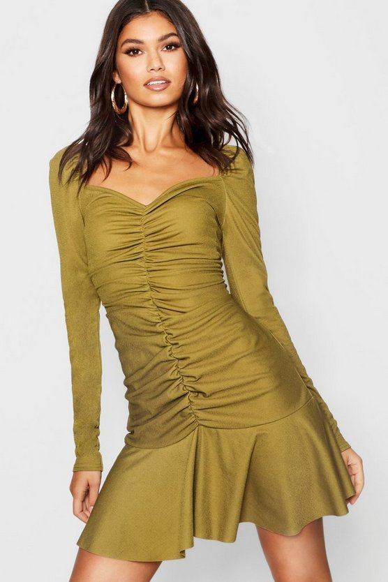 Womens Olive Rouched Front Sweetheart Neck Mini Dress