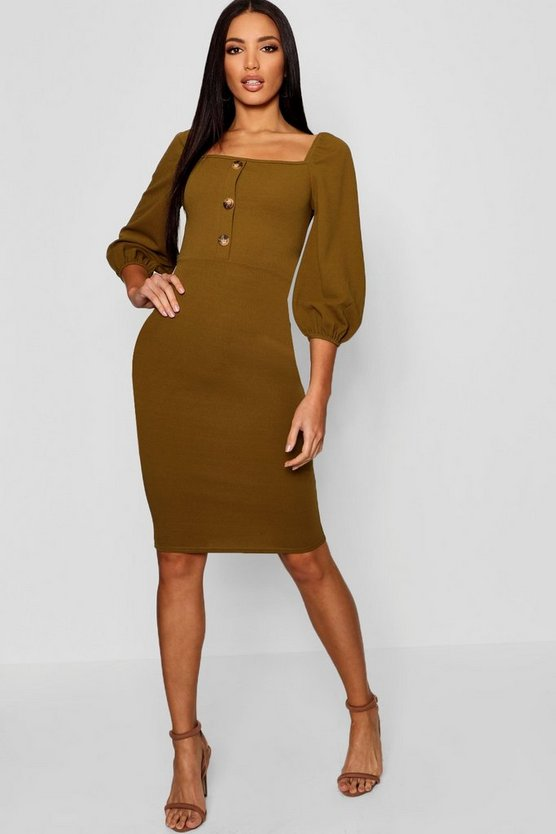 Square Neck Puff Sleeve Midi Dress