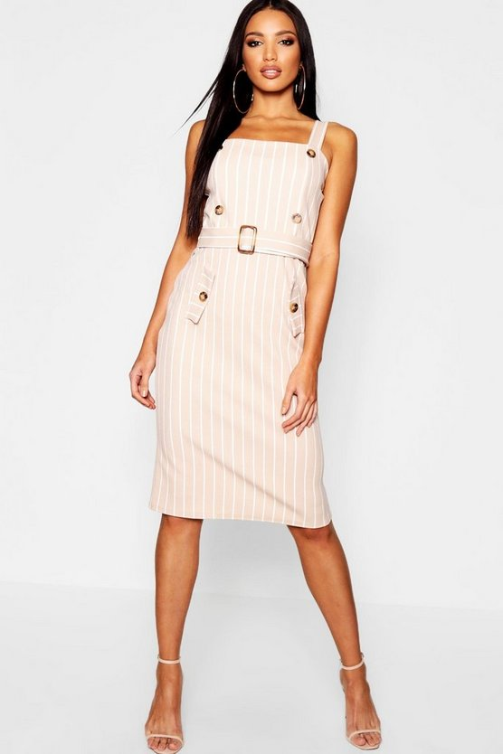 Womens Stone Tonal Stripe Belted Pinafore Dress