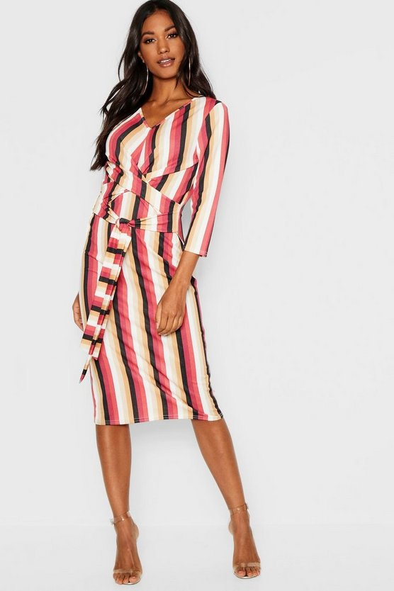 Knot Front Striped Midi Dress