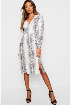 Grey Snake Print Side Split Shirt Dress