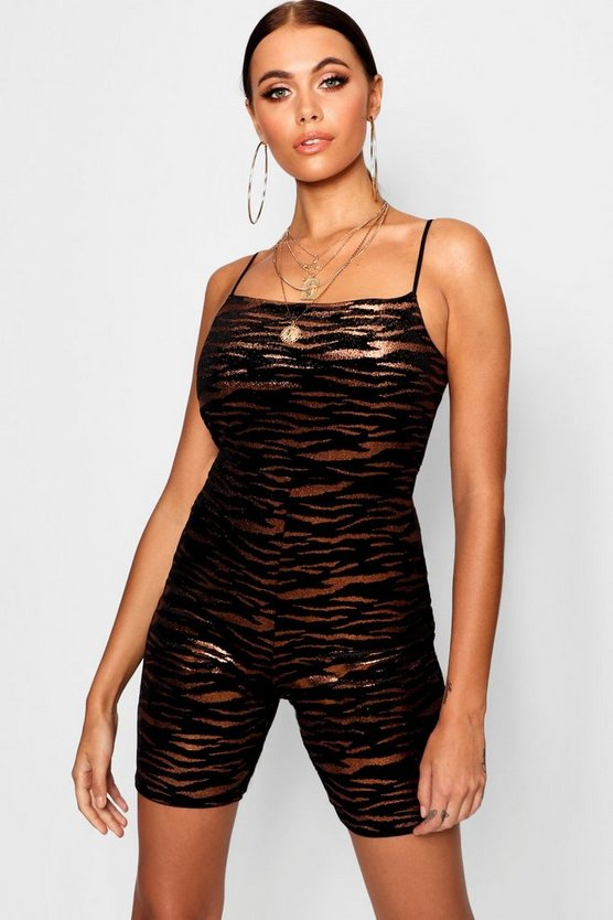 Tiger Velvet Square Neck Unitard